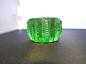 Green Vaseline Glass Salt Cellar Dip Zipper Pattern