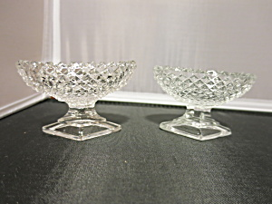 Westmoreland Pair Diamond Hobnail Pedestal Salt Cellar