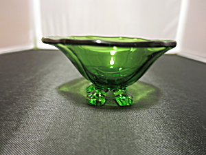 Green Cambridge Glass Footed Salt Cellar