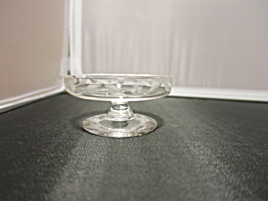 Etched Glass Footed Pedestal Salt Cellar