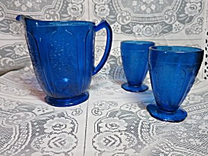 Pressed Cobalt Blue Glass Pitcher Two Footed Tumblers