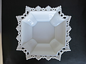Westmoreland Milk Glass Ring And Petal Bowl 10 Inch