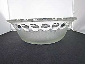Pressed Glass Apple Serving Bowl Diameter 10 14 Inch