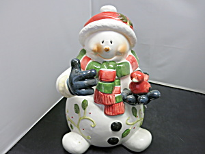 Snowman Cookie Jar Holding Cardinal Bird Pai China
