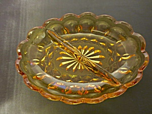 Vintage Indiana Glass Amber Divided Dish 1960s