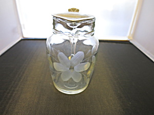 Antique Syrup Pitcher Etched Glass Circa 1916