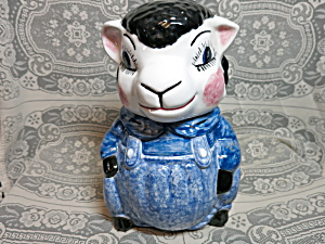 Sheep Cookie Jar Hand Made Marked Franies Usa