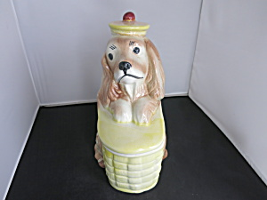 Brush Pottery Puppy Dog on Basket Cookie Jar (Image1)