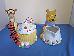 Winnie The Pooh And Tigger Christmas Sugar Bowl Creamer