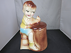 American Bisque Churn Boy Cookie Jar Usa