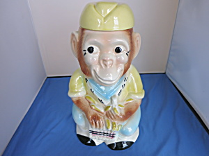 Jocko the Monkey Robinson Ransbottom Cookie Jar 1950s  (Image1)