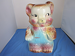 American Bisque Bear Cookie Jar Blue Rompers Usa 1959