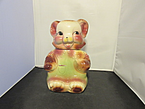 American Bisque Bear Dressed In Pink And Green