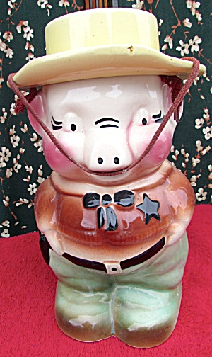 Sheriff Pig R R P Co. Roseville Ohio Cookie Jar