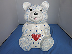 Bear Cookie Jar Heart Made in Brazil Sponge-ware Motif (Image1)
