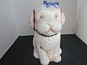 Puppy Dog Cookie Jar White Poodle Looking