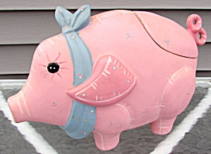 Ceramic Large Pig Cookie Jar NAC USA 1987 (Image1)