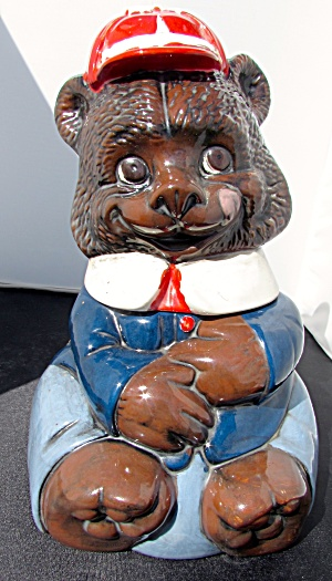 Bear With Hat Cookie Jar Hand Made Ceramic 1975