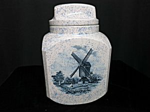 Windmill Ceramic Cookie Jar hand made unmarked Dutch (Image1)