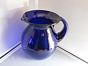 Cobalt Blue Pitcher Blown Glass Applied Handle  (Image1)
