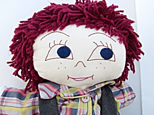 Boy Cloth Doll Embroidered Facial Features Yarn Hair 18 (Image1)