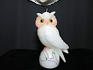 Vintage White Snow Owl Candle