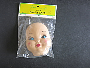 Vintage Plastic Baby Dimple Face Mask Head Doll Craft