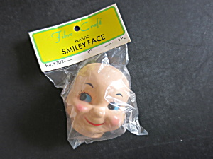 Vintage Plastic Baby Smiley Face Mask Doll Fibre Craft