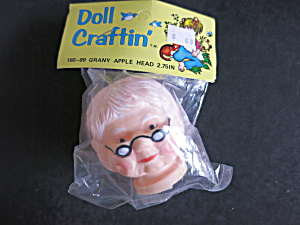 Vintage Granny Apple Head Doll Crafts Hard Rubber