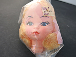 Vintage Girl Soft Rubber Doll Head Crafting Blonde Wig