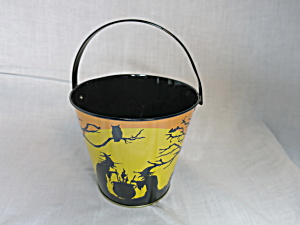 Halloween Tin Pail Bucket Lithograph Witches Bat Owl