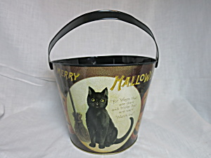 Merry Halloween Tin Pail Bucket Cat Pumpkins