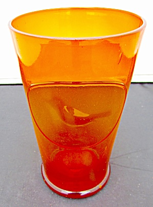 Amberina Blown Glass Tumbler With Bird