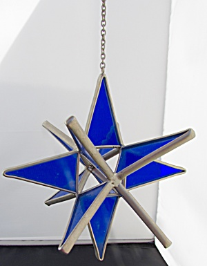 Cobalt Blue Stained Glass Ornament 5 Inch
