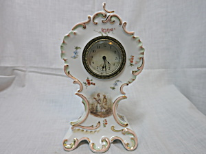 Antique Porcelain Thermometer Mantle Clock R C Germany