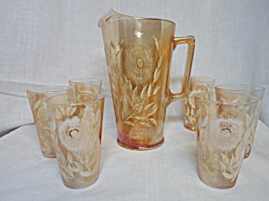 Jeanette Glass Cosmos Pitcher With 6 Tumblers 7 Pc Set