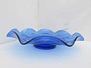 Vintage Cobalt Blue Blown Glass Bowl Flared Rim