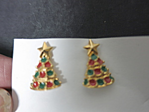 Christmas Tree Post Earrings Red Green Gold