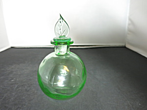 Green Mold Blown Glass Perfume Bottle