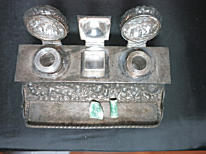 Victorian Simpson Double Inkwell Pen Tray Stamp Holder (Image1)
