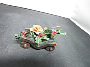 Vintage Hand Crafted Wooden Car with Holly Ornament (Image1)