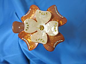 Vintage Lucite Floral Hair Clip Claw With Rhinestones