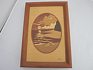 Artist Signed Nelson Wood Inlay Picture Sunset Seagull