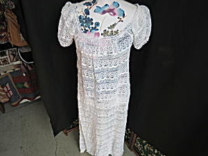 Women White Crochet Lace Long Gown Dress Short Sleeve