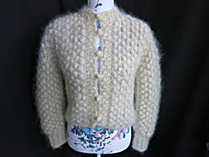 Vintage Popcorn Stitch Hand Knitted Sweater With Pearls