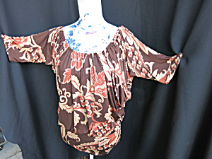 Vintage Scoop Neck Batwing Blouse Hand Tailored Size L