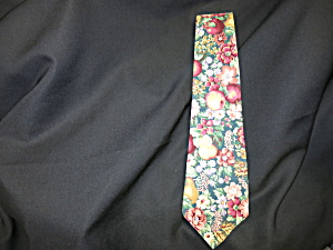 Vintage Mens Neck Tie Polished Cotton Fruit Floral  (Image1)