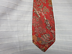 Mens Neck Tie Imported Silk Brocade 1940s (Image1)