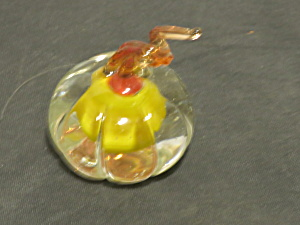 Miniature Pumpkin Figurine Hand Blown Cased Glass