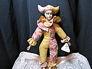Sugar Loaf Creations Porcelain Clown Doll Mardi Gras